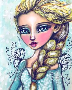My version of Elsa from Frozen. :) Getting into the #fairytale #everafter2017 mood!! :) #tamfb #everafter2017 #mixedmedia #willowing #willowingarts #elsafrozenart #fairytaleart
