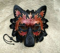 Copper Red Autumn Leaf Wolf Mask ...original hand made leather wolf mask