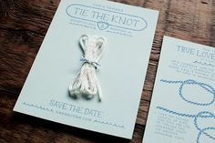 """What if you did a """"Tying the Knot"""" save the date as a nod to your sailing. It would be a great way to tie it into the wedding without having to have a 'nautical' theme. Unique Save The Dates, Wedding Save The Dates, Save The Date Cards, Our Wedding, Dream Wedding, Wedding Ideas, Wedding Stuff, Wedding Planning, Nautical Wedding Stationery"""