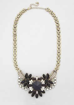 A Grand Statement Necklace. Flaunt your stylish state of mind in this dazzling necklace. #black #modcloth