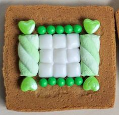 gingerbread house St. Patrick's Day 2015-4 Use taffy swirl for shutters