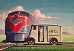 "Daily Paintworks - ""Milk Shake"" - Original Fine Art for Sale - © Robert LaDuke Art Deco Posters, Vintage Posters, Vintage Art, Nostalgic Art, Automotive Art, Automotive Industry, Art Deco Illustration, Train Art, Garage Art"