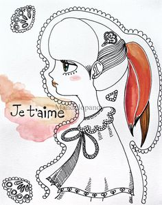 Je t'aime 8x10 #Watercolor #ink #french #Mandylopandy #Etsy