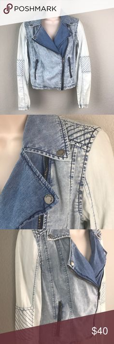 Volcom 100% cotton Denim wash moto jacket Volcom 100% cotton Denim wash moto jacket with quilted shoulders, various shades of blue and two zipper front pockets. Worn twice, great used condition except for tiny orange dot on back (in pic included). Volcom Jackets & Coats