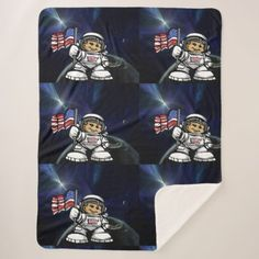 Young Astronaut and American flag exploring space Sherpa Blanket - home decor design art diy cyo custom