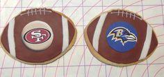 1 dozen Super Bowl XLVII 49rs vs. Ravens Custom Cookies by Mama's Custom Cookies. $42.00, via Etsy.