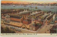 1910s American Line HOBOKEN Postcard New Jersey Ships Harbor Piers Vintage Illustration