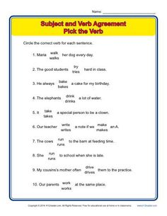 subject verb agreement fun and printable third grade grammar worksheet grammar syntax. Black Bedroom Furniture Sets. Home Design Ideas