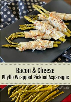 BACON & CHEESE PHYLLO WRAPPED PICKLED ASPARAGUS is a delicious hot appetizer that has a beautiful presentation. Phyllo dough sprinkled with bacon parmesan and romano cheese and wrapped around perfectly spiced pickled asparagus. A show stopping appetizer. Pickled Asparagus, Asparagus Bacon, Asparagus Recipe, Hot Appetizers, Appetizer Recipes, Yummy Recipes, Party Recipes, Spicy Recipes, Holiday Recipes