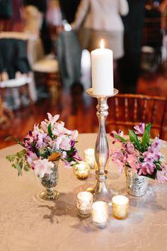 Modern Floral & Candle Centerpiece | Lauren Carnes Photography