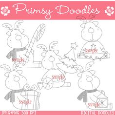 11- Christmas reindeer 1 digital stamps - $1.00 : Primsy Doodle Designs, Country Clipart and Primitive Graphics