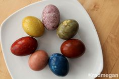 Naturally dyed Easter eggs using carrot tops, beets, red cabbage, dill and more. What's not to love?