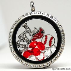 St. Louis baseball themed locket necklace from SportLockets.com.  Customize with your own letters!
