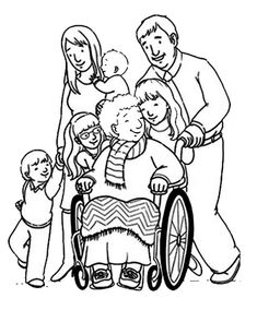 Helping Others Our Grandma Sitting On Wheelchair Coloring Pages : Coloring Sky