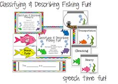 Speech Time Fun: Classifying & Describing Fishing Fun! Pinned by SOS Inc. Resources. Follow all our boards at pinterest.com/sostherapy for therapy resources.