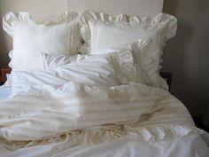 Custom Queen duvet cover with euro shams ruffle bedding sets off white-cream-ivory cotton-SHABBY chic bedding-ELEGANT ruffle sham-lace trim White Ruffle Bedding, Ruffle Duvet, White Pillows, Bed Pillows, Linen Duvet, Chic Bedding, Duvet Bedding, Bedding Sets, Luxury Bedding