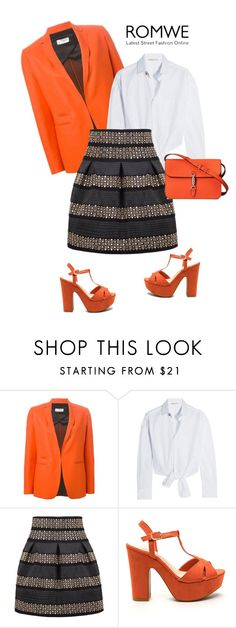 """Romwe. Orange time with skirt."" by vilson-1 ❤ liked on Polyvore featuring Alberto Biani, Maje and Gucci"