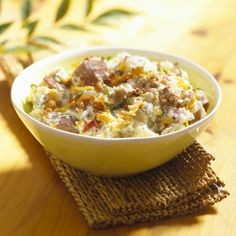 Delicious potato recipes provided by Potatoes USA. Learn why potatoes are the number one side-dish vegetable. Find fast, simple recipes to more advanced potato dishes. Healthy Baked Potatoes, Baked Potato Microwave, Bacon Ranch Potato Salad, Loaded Baked Potato Salad, Potato Dishes, Potato Recipes, Bacon Recipes, Salsa, Good Food