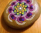 Pinwheel on Purple~ Colorful Dot Art Painted Rocks ~ Original Mandala Design ~ Beach Stone Home Decor