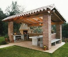Pergola For Small Patio Info: 9995773657 Backyard Kitchen, Summer Kitchen, Outdoor Kitchen Design, Kitchen Rustic, Outdoor Kitchens, Bar Kitchen, Kitchen Dinning, Out Door Kitchen Ideas, Outdoor Kitchen Bars