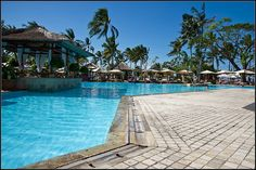 Nusa Dua Beach Hotel, Bali. Pool Area, all tumbled marble is installed and supplied by Indonesian Art Stone