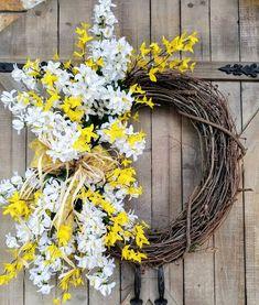 Summer Delphinium / Forsythia Front Door Wreath