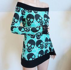 Custom Off Shoulder Skull Top in YOUR SIZE S M L XL by radrocket, $37.95