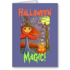 Halloween Magic! Big Eye Redhead Halloween Witch Girl and Luna Moths Greeting Cards