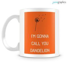 Orange and Black mug. Dandelion mug design. by JuiceGraphics