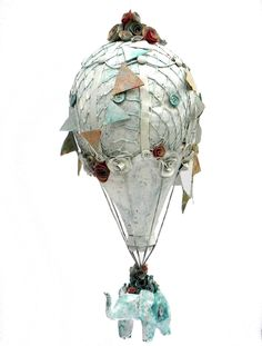 Paper mache hot air balloon sculpture . $300.00, via Etsy.