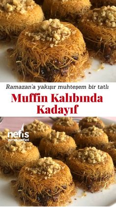 Kadayıf dessert with muffin mold – yummy recipes – # 4599305 - My CMS Yummy Food, Tasty, Yummy Recipes, Puff Pastry Recipes, Turkish Recipes, International Recipes, Beautiful Cakes, Muffins, Food To Make