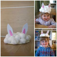 Paper bowl bunny rabbit hats - Easter crafts for toddlers and preschoolers - Little Hearts, Big Love