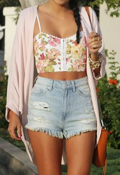 Have: white tank or white corset top, light pink cardigan and cut offs Need: floral bustier