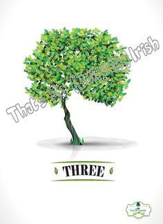 Irish slang 'Three' Tree Irish Poster by ThatsSoIrish on Etsy
