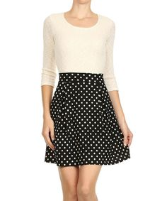 Look at this Le Lis Black & White Polka Dot Fit & Flare Dress on #zulily today!
