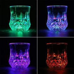 Glassware Led Flashing Glowing Water Liquid Activated Light-Up Wine Glass Cup Mug Party & Garden