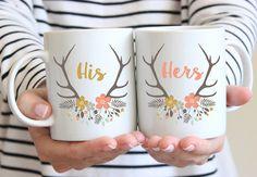 His And Hers Mugs, Set of 2 Mugs, Wedding Couple Mugs, Mr & Mrs Mugs, Bride And Groom Mugs, Coffee Cup, Floral Deer Antlers, Spring, UK