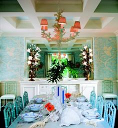 nautical design and organization : #home #dining rooms #turquoise