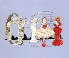 Q is for Queens 9x7.5 Wonderland Alphabet Print by JKLee on Etsy, $6.50