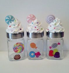 3 Candy Theme Frosted Lids Containers Jars Canisters with Bright Candy Stickers, Secret Santa Gifts, Candy Land Birthday Party Favors, Decor Cupcake Bakery, Cupcake Cookies, Cupcake Jar, 6th Birthday Parties, Birthday Party Favors, Candy Land Theme, Ice Cream Party, Cute Cupcakes, Secret Santa Gifts