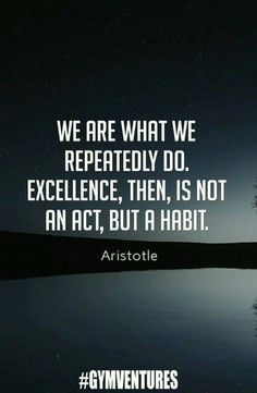 We are what we repeatedly do. Excellence, then, is not an act, but a habit. - Aristotle.