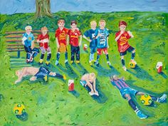 "I was honored to have been commissioned to create this painting to celebrate a wonderful, close knit soccer team; closing a chapter of their time together as one team. This painting titled, ""If It Were Easy, Everyone Would Do It,"" captures the extra hours these boys spent together on and off the field.  oil on canvas  40 x 30 inches"
