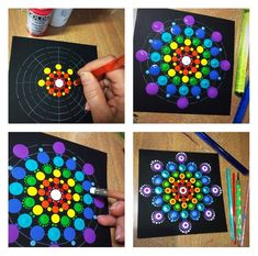 Dot Painting Mandala Kit , 9 dot painting tools, stencil, guide and more - Art - Chalk Art Mandala Art, Mandala Stencils, Mandala Drawing, Mandala Painting, Mandala Design, Mandala Pattern, Dot Painting Tools, Dot Art Painting, Painting Patterns