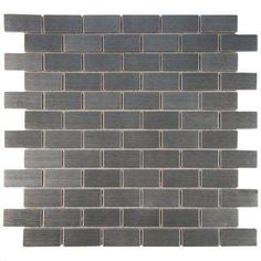 Meta Standard Subway 11-3/4 in. x 11-3/4 in. x 8 mm Stainless Steel Over Porcelain Mosaic Tile