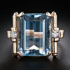 Retro Aquamarine and Diamond Ring - 30-1-5085 - Lang Antiques