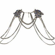 Gunmetal tone embellished shoulder harness - body chains / accessories - jewellery - women