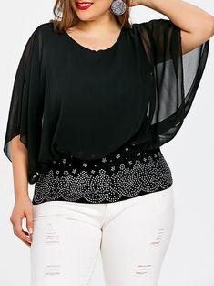 Plus Size Batwing Sleeve Rhinestone Embellished Blouse - BLACK