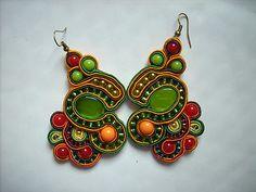 red green soutache earrings