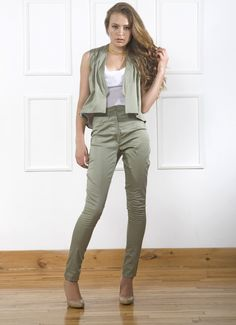 Cute olive / army green high waist pant and cropped vest combo and white silk chiffon tank top.