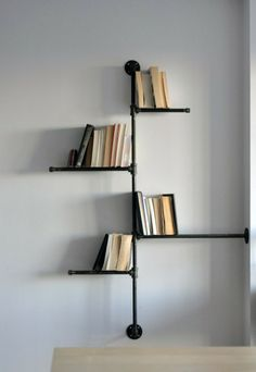 DIY shelves from metal pipes